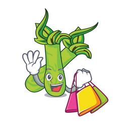 Shopping wasabi character cartoon style vector
