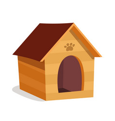 Small dog house kennel flat vector