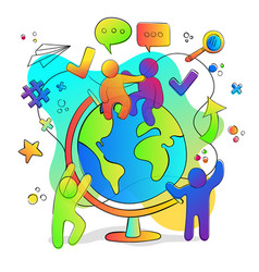 social friend group with planet earth globe vector image