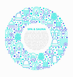spa sauna concept in circle with thin line icons vector image