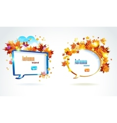 Speech bubble with autumn leaves vector image