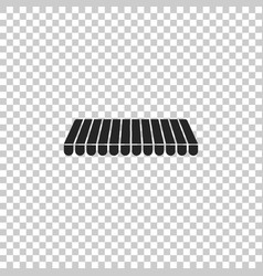 Striped awning icon on transparent background vector