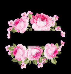 The blooming rose garland vector