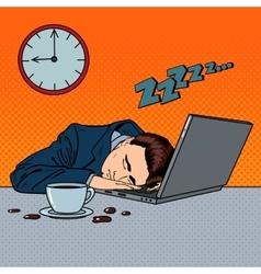 Tired Businessman Sleeping on a Laptop Pop Art vector