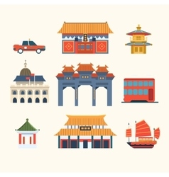 Traditional Chinese Buildings Hong Kong travel vector