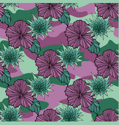 tropic flowers on the camouflage background vector image