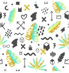 tropical abstract seamless pattern memphis vector image