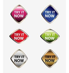 Try it now button icon set vector image
