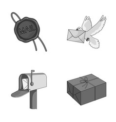 Wax seal postal pigeon with envelope mail box vector