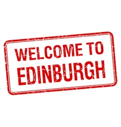 Welcome to Edinburgh red grunge square stamp vector