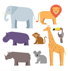 wild animals in flat style pictures vector image