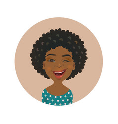 Winking afro american woman avatar vector