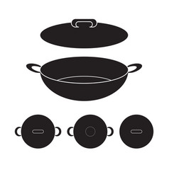 Wok chinese pan icon flat sign vector