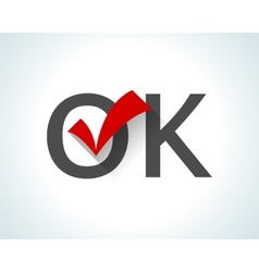 Word OK on white background with red tick vector image