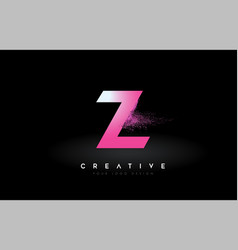 Z letter logo with dispersion effect and purple vector