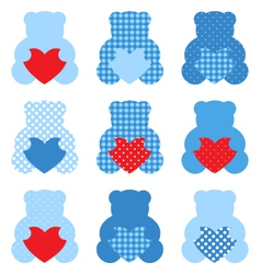 Cute Teddy Bear with hearts set isolated on white vector image vector image
