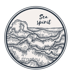 Hand drawn sea waves in circle marine background vector