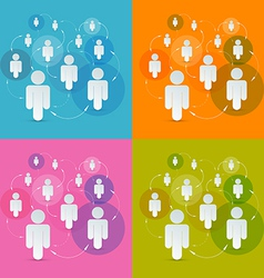Paper People in Circles Set - Social Media vector image vector image