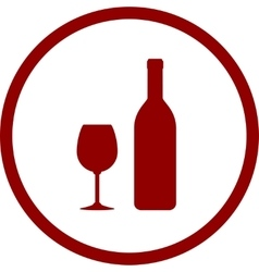 red wine bottle and glass in round frame vector image