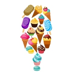 Sweets Cupcakes Composition vector image vector image
