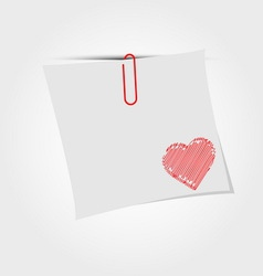 White paper note with clip and red heart vector image vector image
