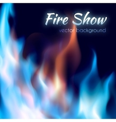Fire show poster abstract red and blue burning vector