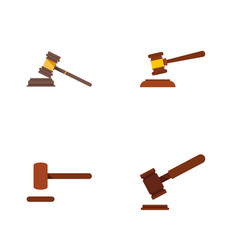 flat icon court set of justice court defense and vector image