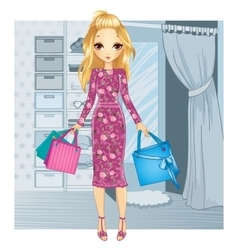 Girl Standing Near Fitting Room vector image vector image
