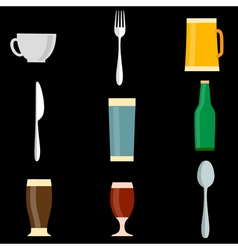 Icons of utensil objects vector image vector image