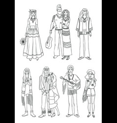set of various hippie people in different clothes vector image vector image