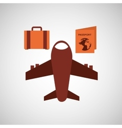 travel airplane passport bag vector image vector image