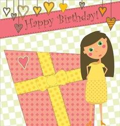 Birthday Greeting with Girl and Gift vector image