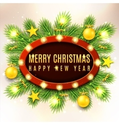 Christmas banner with yellow toys vector image vector image