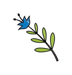 Drawing blue flower decoration celebration vector