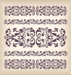 set vintage ornate border frame with retro vector image