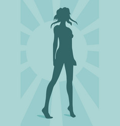 sexy woman silhouette on sun burst background vector image vector image