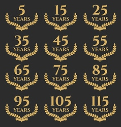 5-115 anniversary laurel wreath vector image
