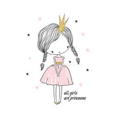 cute little princess girl vector image vector image