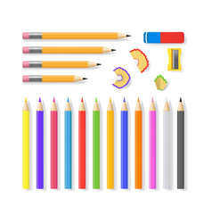 realistic detailed 3d sharpened pencils set vector image vector image