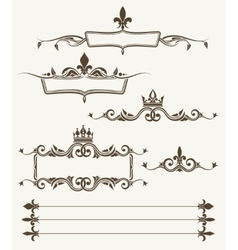Royal crowns and fleur de lys ornate frames vector image vector image