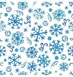 Seamless pattern with hand drawn watercolor snowfl vector image