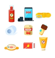 Survival emergency kit for evacuation Items vector image