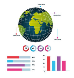 world infographic globe information business vector image
