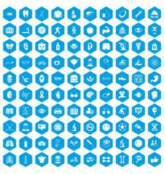100 health icons set blue vector