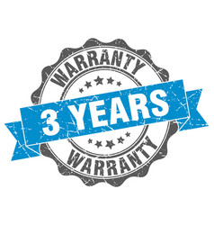 3 years warranty stamp sign seal vector
