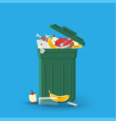 A full garbage can with waste vector
