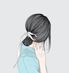 a woman back hair and her white bow vector image