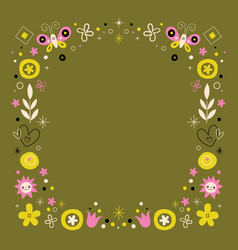 abstract art flowers nature retro frame border vector image