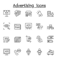 Advertising icons set in thin line style vector