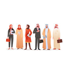 arabic businessman and businesswoman team of vector image